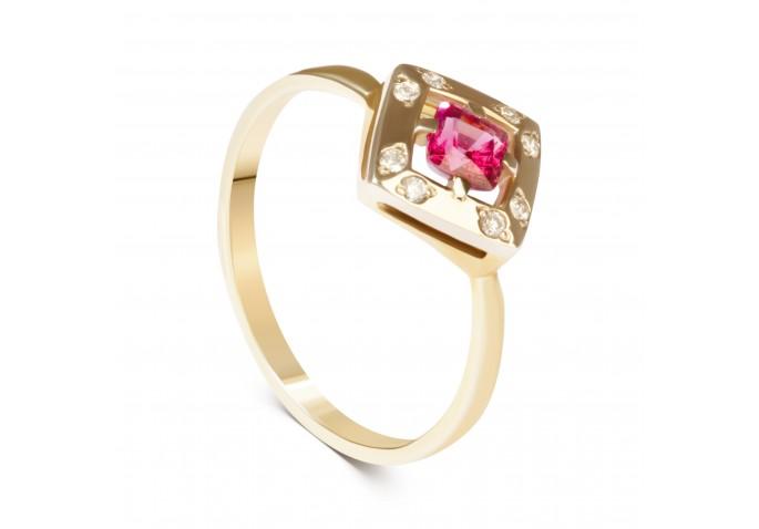 Кольцо со шпинелью и бриллиантами