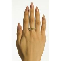 Кольцо с хризолитом и демантоидами