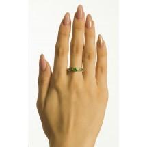 Кольцо с демантоидом и цаворитами